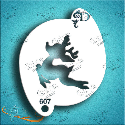 Diva Stencils | Face Painting Stencil | Cute Rudolf the Reindeer (607)