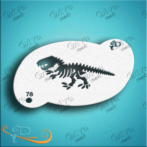 Diva Stencils | Face Painting Stencil | Dino Skeleton (00078) - Jest Paint Store