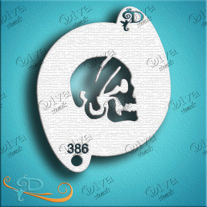 Diva Stencils | Face Painting Stencil | Pirate Skull Side with Bandana (00386)
