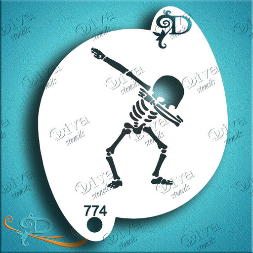 Diva Stencils | Face Painting Stencil | Skeleton Dab (774) - Halloween