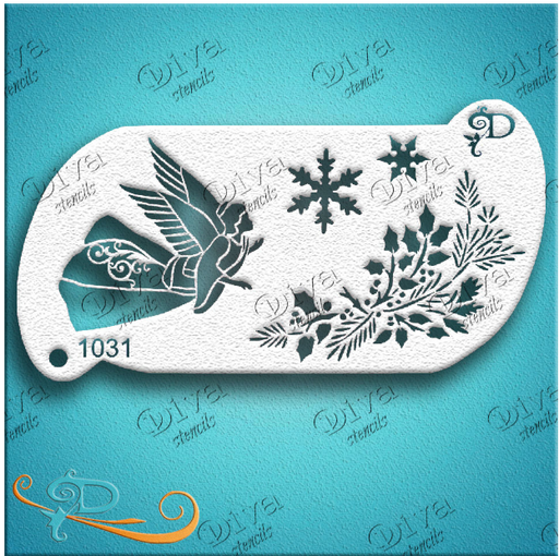 Diva Stencils | Face Painting Stencil | Angel and Pine (1031)