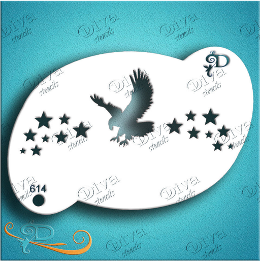 Diva Stencils | Face Painting Stencil | Eagle and Stars (614)
