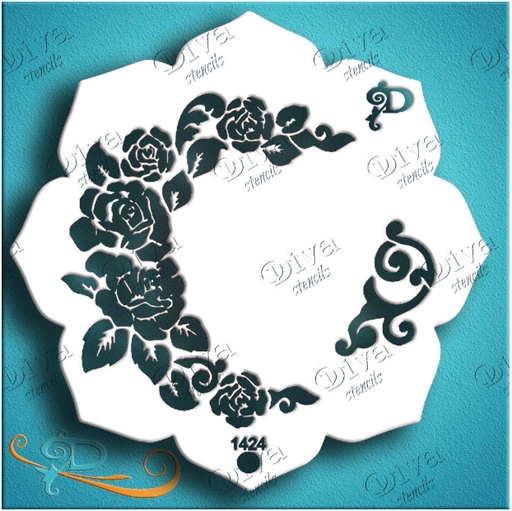 Diva Stencils | Face Painting Stencil | Eye Candy - Cabbage Rose (1424) - Jest Paint Store