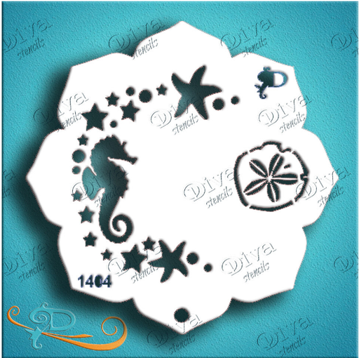 Diva Stencils | Face Painting Stencil | Eye Candy - Seahorse (1404)