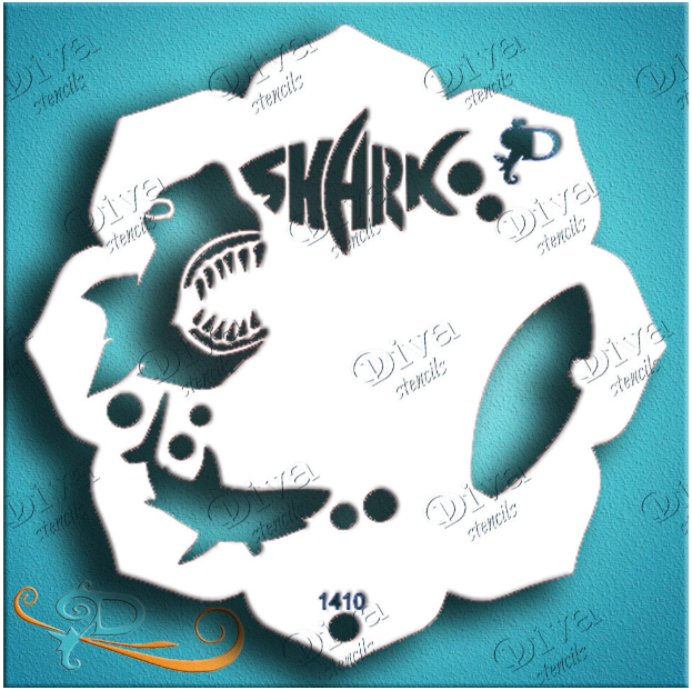 Diva Stencils | Face Painting Stencil | Eye Candy - Sharks (1410)