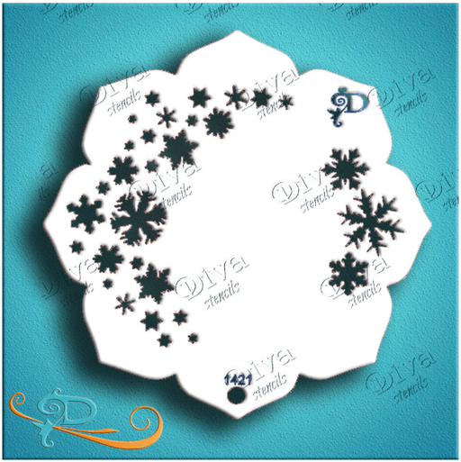 Diva Stencils | Face Painting Stencil | Eye Candy - Snowflakes (1421) - Jest Paint Store