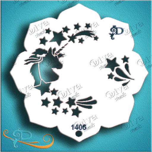Diva Stencils | Face Painting Stencil | Eye Candy - Unicorn (1406) - Jest Paint Store
