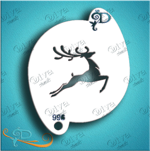 Diva Stencils | Face Painting Stencil | Stylized Deer (996) Christmas Stencil