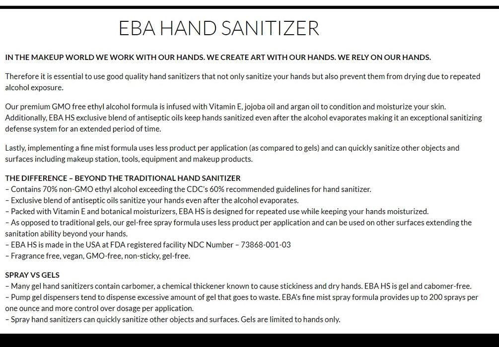 EBA Performance Makeup | Hand Sanitizer Spray 1oz (For Hands, Kits and Makeup)