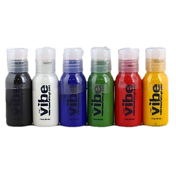 VIBE Water Based Airbrush Body Paint - 6 Color Primary Starter Kit - Jest Paint Store