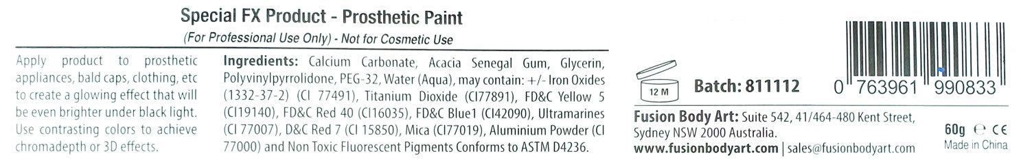 Fusion Body Art Ingredients for 6 color Palettes with UV