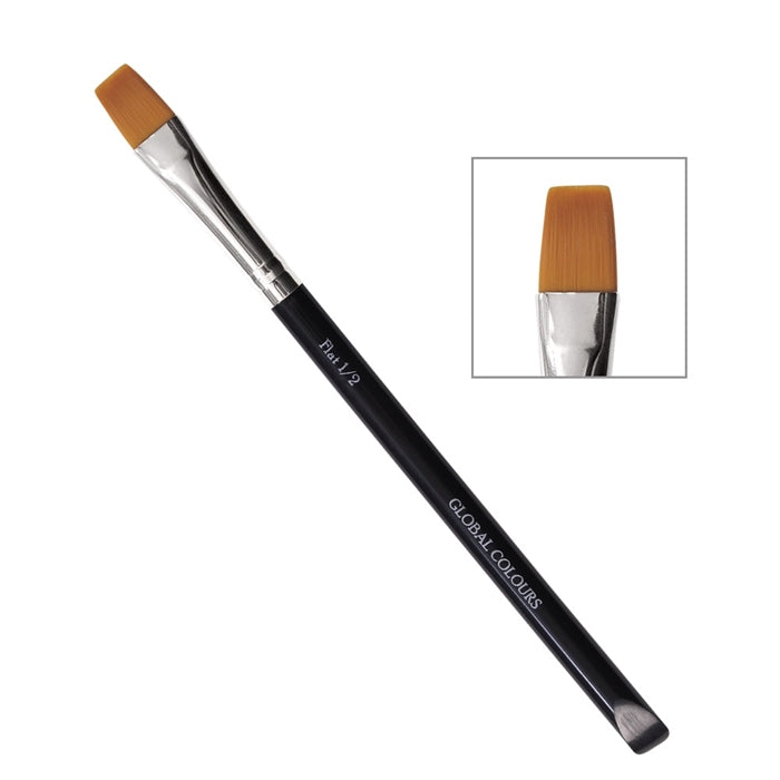 "Global Body Art Face Painting Brush - 1/2"" FLAT - Jest Paint Store"