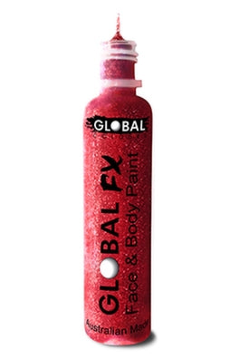 Global FX Face Painting Glitter Gel - Red 36ml/1.2oz - Jest Paint Store
