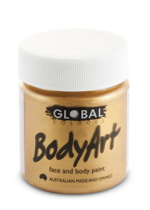 Global Body Art Face Paint - Liquid Gold 45ml - Jest Paint Store