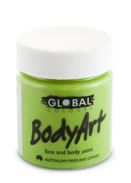 Global Body Art Face Paint - Liquid Green Light 45ml - Jest Paint Store