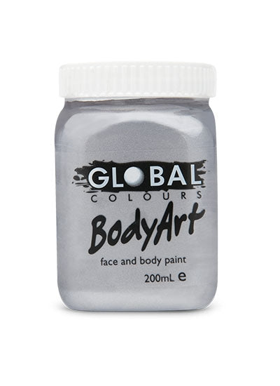 Global Body Art Face Paint - Liquid Silver 200ml - Jest Paint Store