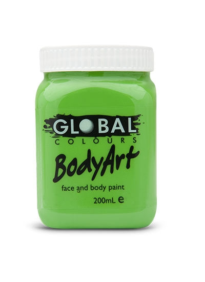 Global Body Art Face Paint - Liquid Green Light 200ml - Jest Paint Store