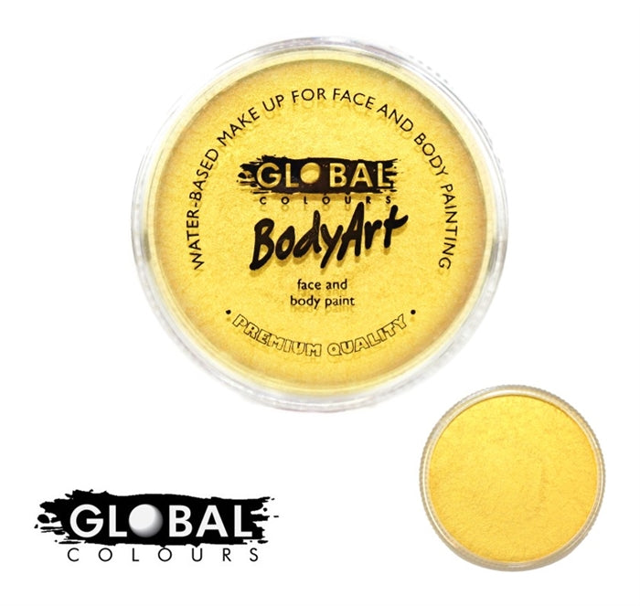 Global Body Art Face Paint - Pearl Yellow 32gr - Jest Paint Store