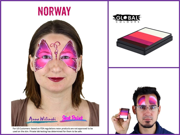 Global Body Art Face Paint - Rainbow Cake Norway 50gr - Jest Paint Store