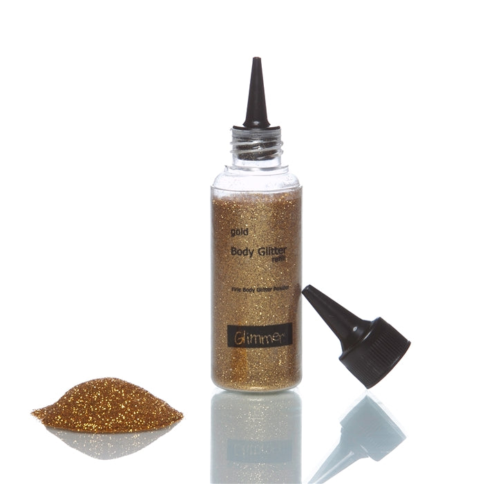 Glimmer Body Art Face Paint Glitter Refill Bottle - Gold - 1.5oz - Jest Paint Store