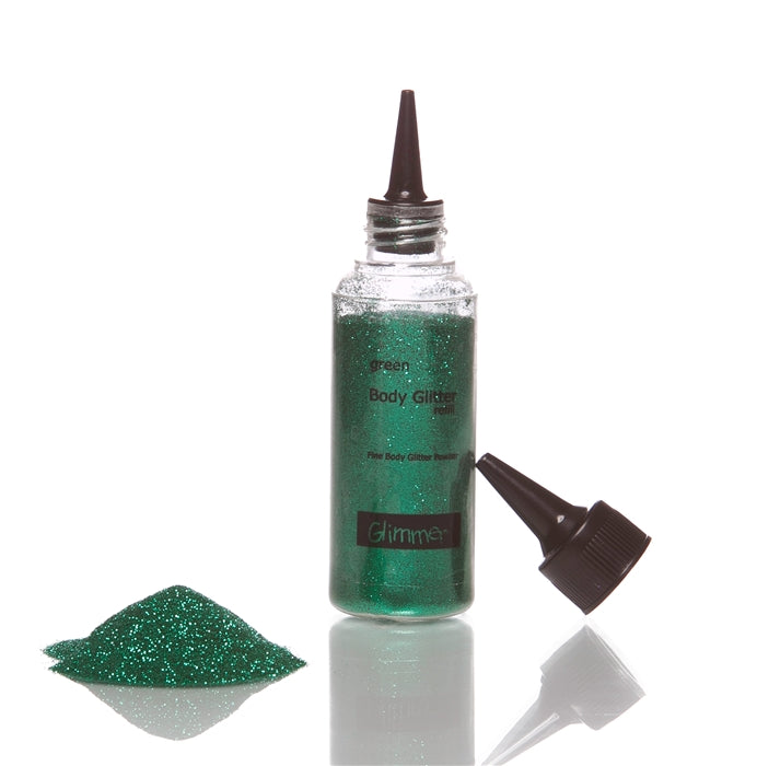 Glimmer Body Art Face Paint Glitter Refill Bottle - Green - 1.5oz - Jest Paint Store