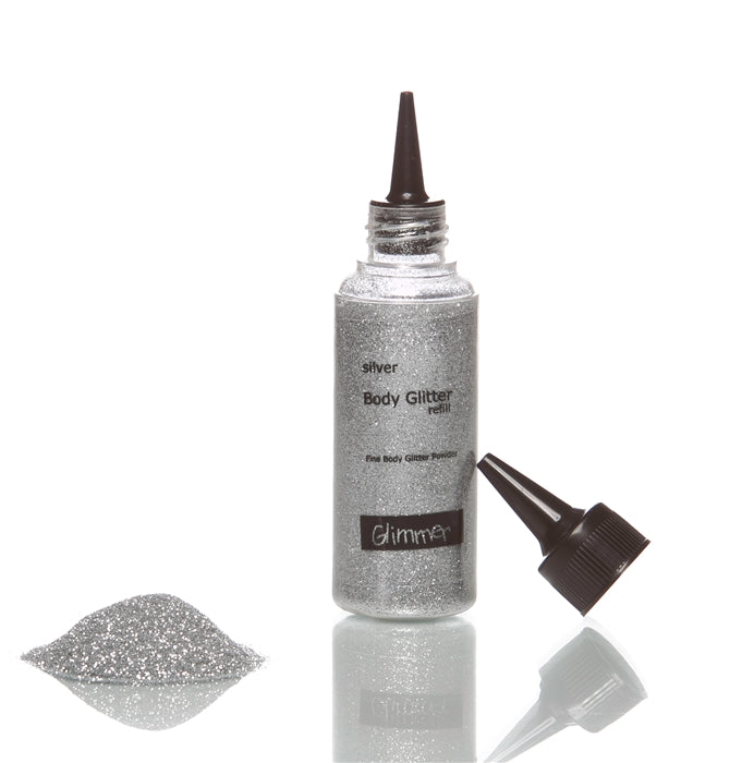 Glimmer Body Art Face Paint Glitter Refill Bottle - Silver - 1.5oz - Jest Paint Store