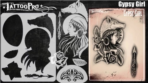 Tattoo Pro | Air Brush Body Painting Stencil - Gypsy Girl set