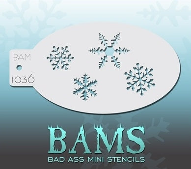 Bad Ass Mini 1036 - Face Painting Stencil - Snowflakes - Jest Paint Store