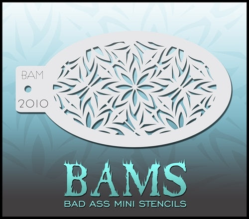 Bad Ass Mini 2010 - Face Painting Stencils - Flower Mosaic / Snowflake Frost - Jest Paint Store
