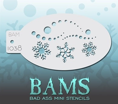 Bad Ass Mini 1038 - Face Painting Stencil - Snowy Frozen Flakes - Jest Paint Store
