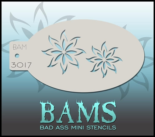 Bad Ass Mini 3017 - Face Painting Stencil - 2 Flowers - Jest Paint Store