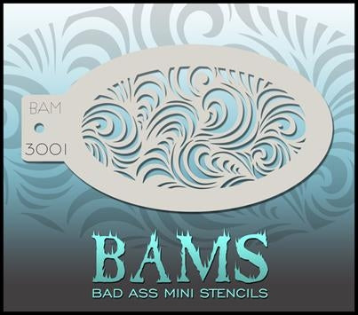 Bad Ass Mini 3001 - Face Painting Stencil - Swirl Cascade - DISCONTINUED - Jest Paint Store