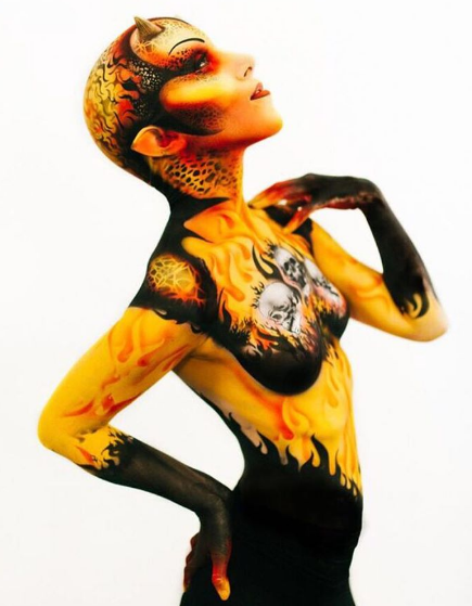 Bad Ass Body Painting Stencil - Flames
