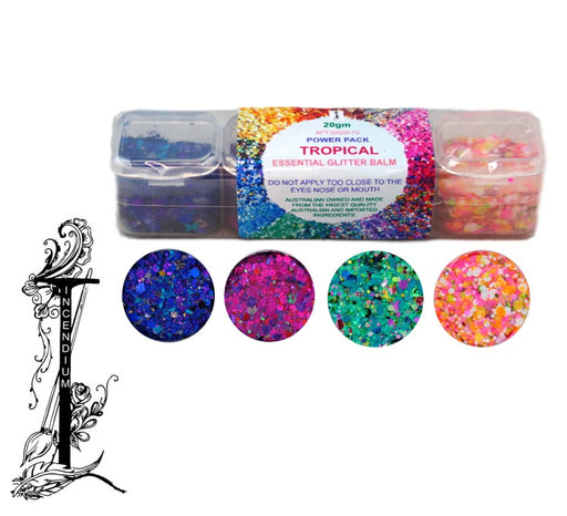 Incendium Arts | Essential Glitter Balm Palette - 4 Color TROPICAL Power Pack - 20gr