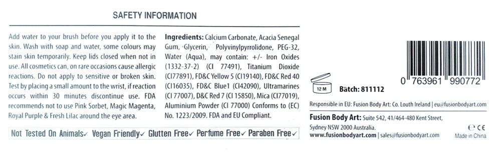Ingredients List for Fusion Body Art Sampler Palette