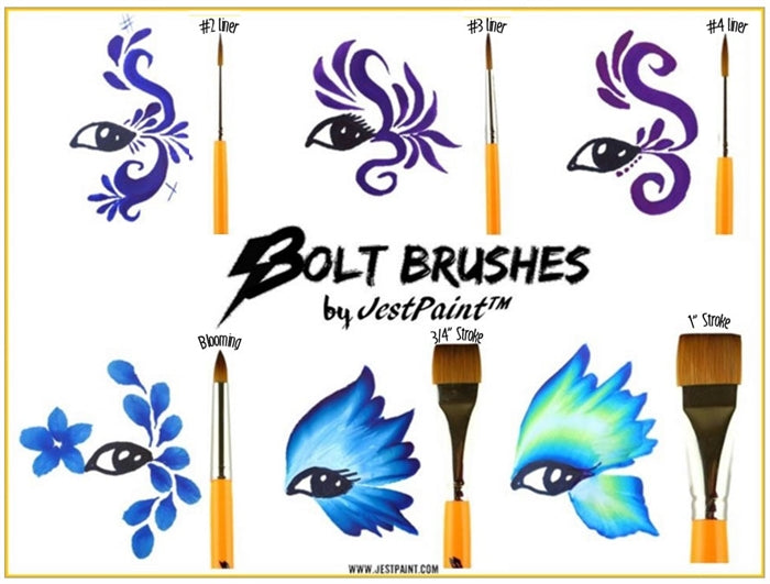 "BOLT Face Painting Brushes by Jest Paint - 3/4"" Stroke - Jest Paint Store"