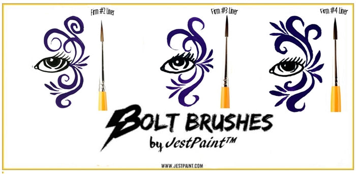 BOLT Face Painting Brushes by Jest Paint - FIRM Liner #3 - Jest Paint Store