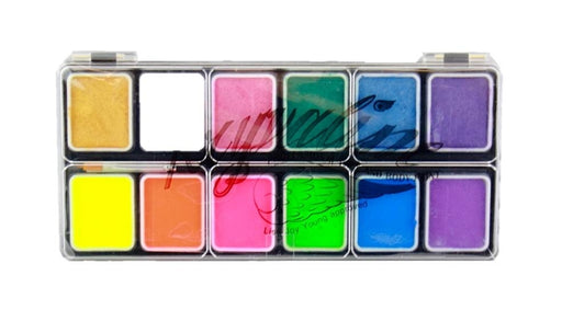 Kryvaline Face Paint (Reg Line) - Small 12 Color Neon/Metallics Palette - Jest Paint Store