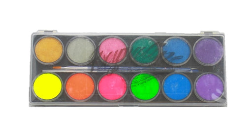 Kryvaline Face Paint (Reg Line)  - Large 12 Color Neon/Metallics Palette - Jest Paint Store
