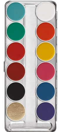 Kryolan Aquacolor Face Painting Palette - FP 12 Colors (Regular) - Jest Paint Store