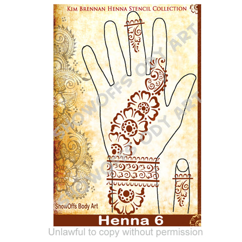 Show Offs Body Art | Kim Brennan Henna Face and Body Painting Stencil - Henna Hand Design #6