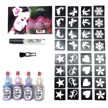 Ybody | SWEET CHEEKS Glitter Tattoo Kit with 32 Stencils and Washable Glue - #4 - Jest Paint Store