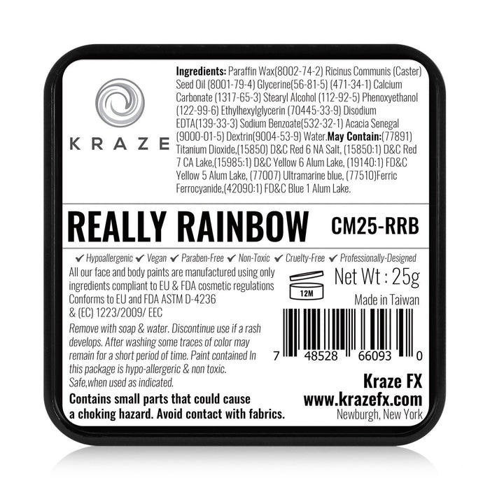 Kraze FX Face and Body Paints | Domed Rainbow Cake - Really Rainbow 25gr label