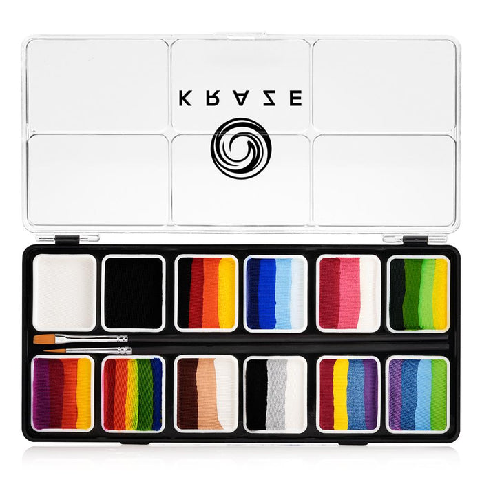 Kraze FX Face and Body Paints | Splash 12 One Stroke Split Cake Palette (6 gm each) - Jest Paint Store