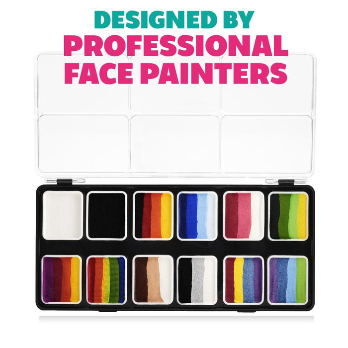 Kraze FX Face and Body Paints | Splash 12 One Stroke Split Cake Palette (6 gm each) designed by professionals