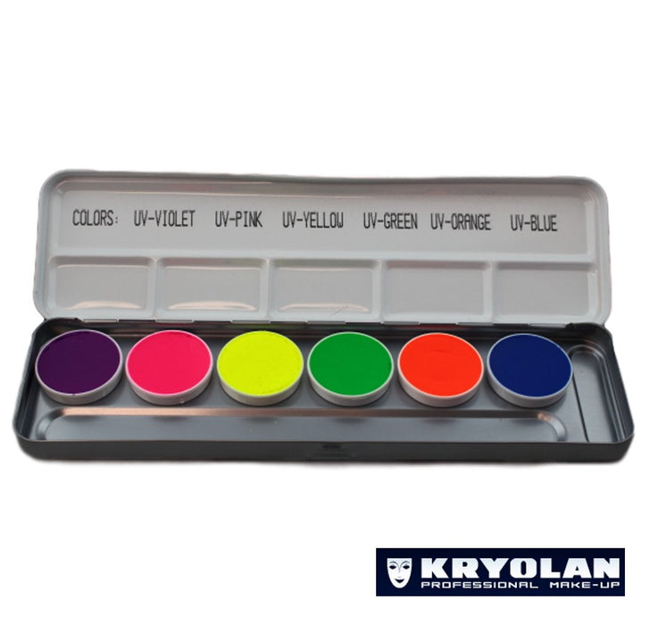 Kryolan Aquacolor Palette - UV 6 Colors - Jest Paint Store
