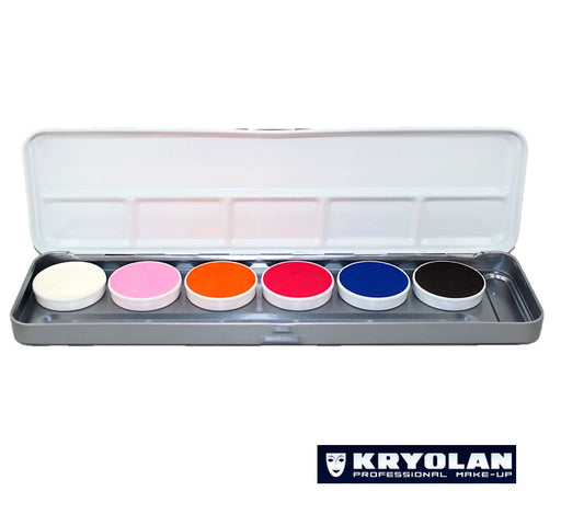 Kryolan Aquacolor Face Paints | Cosmetic Grade - Neon/UV Dayglow Palette (20ml)