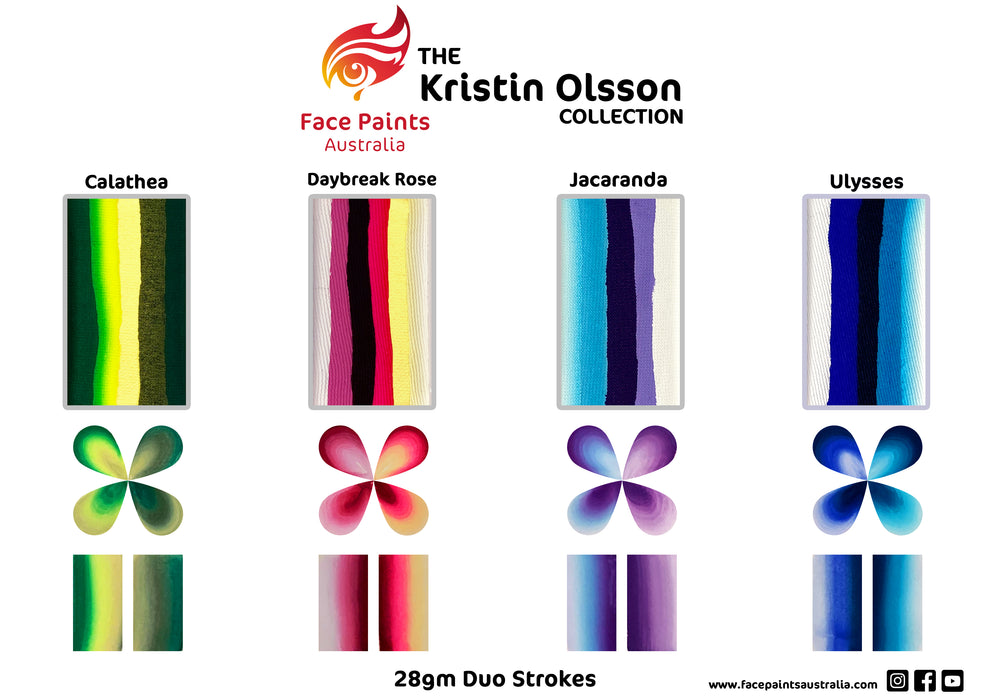 Face Paints Australia  - Duo Stroke Brush Combo by Kristin Olsson | JACARANDA 28gr - Jest Paint Store