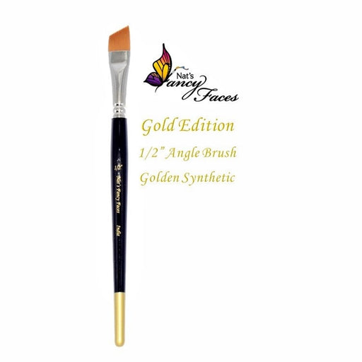 "Nat's Fancy Faces | Face Painting Brush -Gold Edition 1/2"" Angle - Jest Paint Store"