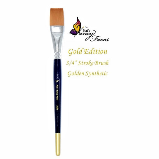 "Nat's Fancy Faces | Face Painting Brush -Gold Edition 3/4"" Flat Stroke - Jest Paint Store"